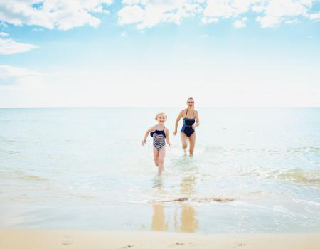 mom and son on beach